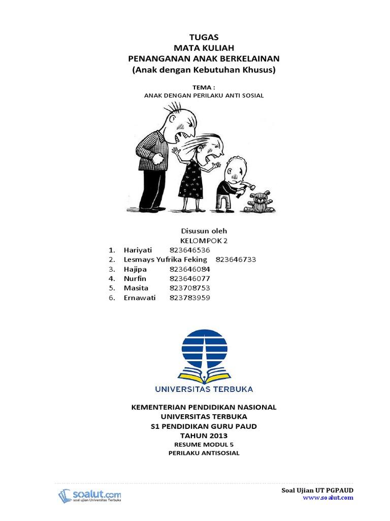 Contoh Makalah Ut Pgpaud Paud4208 Penanganan Anak Berkelainan Pdf