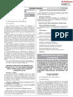 DS. 087-2018-PCM - Declara en Estado de Emergencia Los Distritos de Aguas Verdes y Zarumilla, y El Distrito de Tumbes Por Incremento de Migración