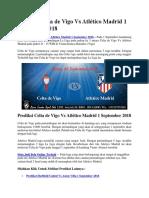 Prediksi Celta de Vigo vs Atlético Madrid 1 September 2018