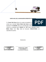 Carta Aval de La Asociación Coperativa Cabimara