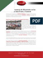 Próxima presencia de Electricfor en las ferias InnoTrans y Gastech