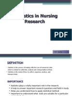 Statistics in Nursing Research