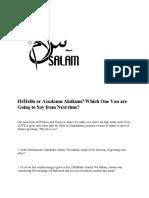 Hi/Hello or Assalamu Alaikum?