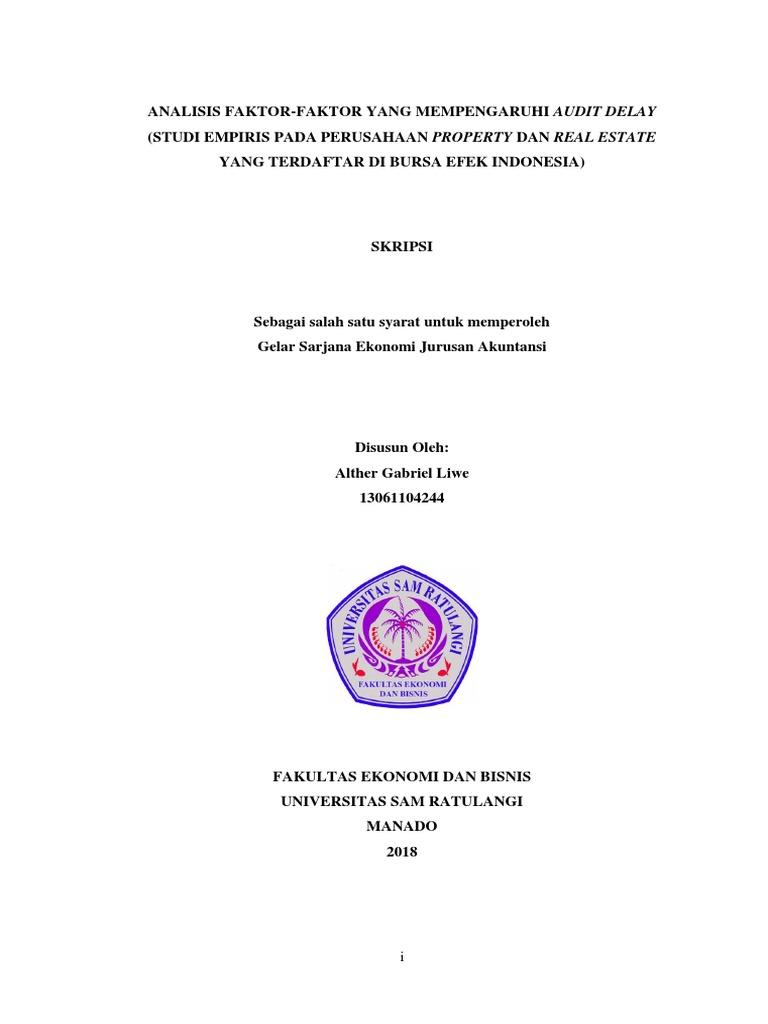 Alther Liwe Skripsi Analisi Faktor Faktor Yang Mempengaruhi Audit Delay