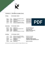 2010 Formula 1 Japanese Grand Prix Timetable