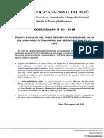 COMUNICADO PNP N° 29 - 2018