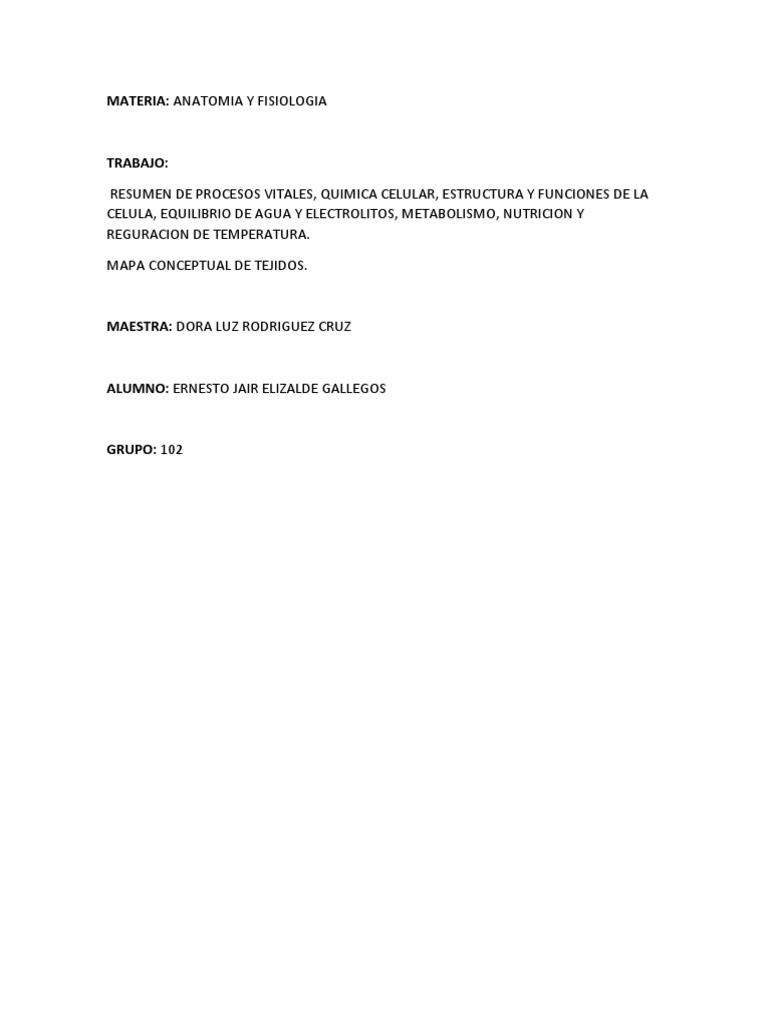 Resumen De Procesos Vitales Quimica Celular Estructura Y
