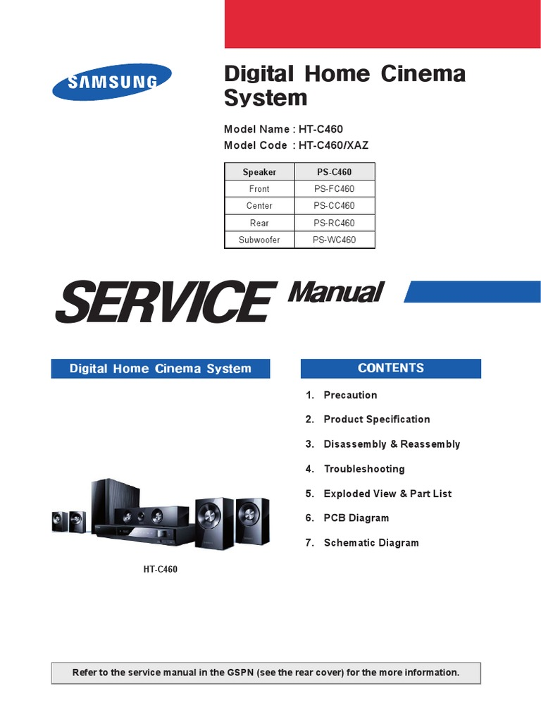 samsung ht c550 xef home theater service manual download
