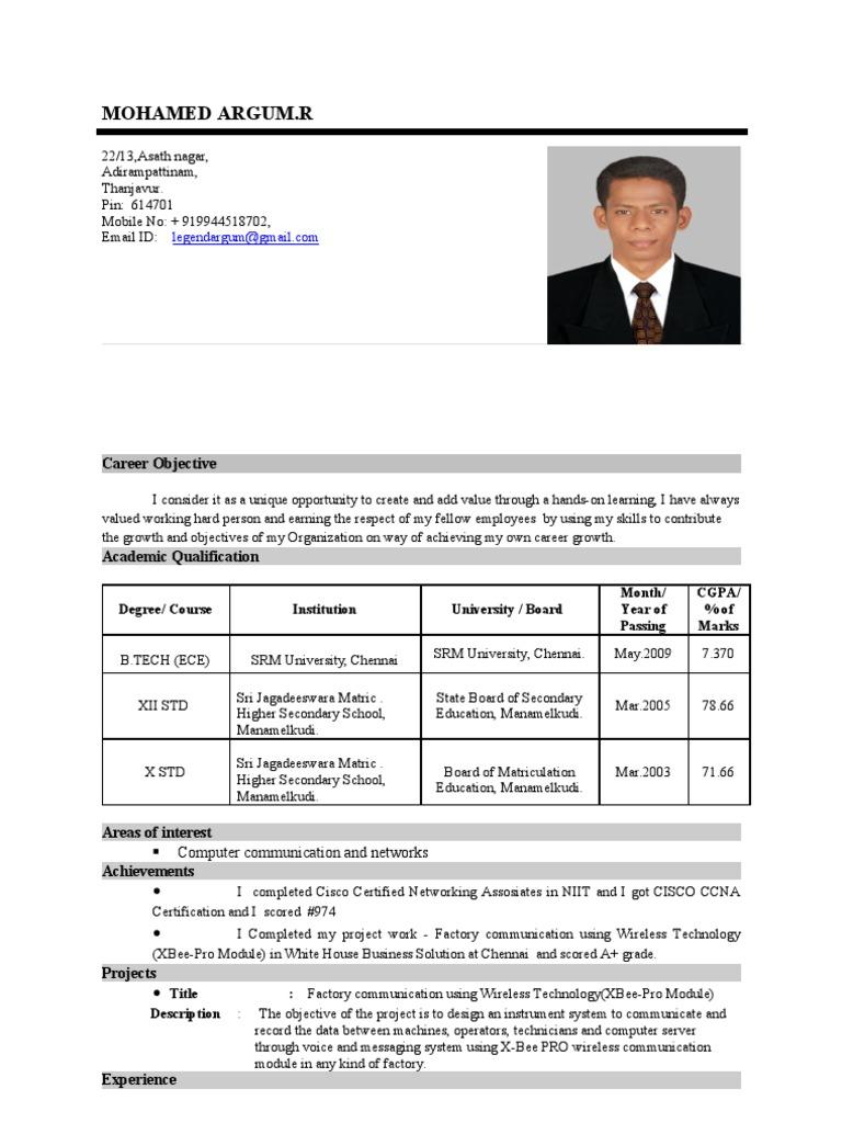 Argumind1resume Cisco Certifications Computer Network