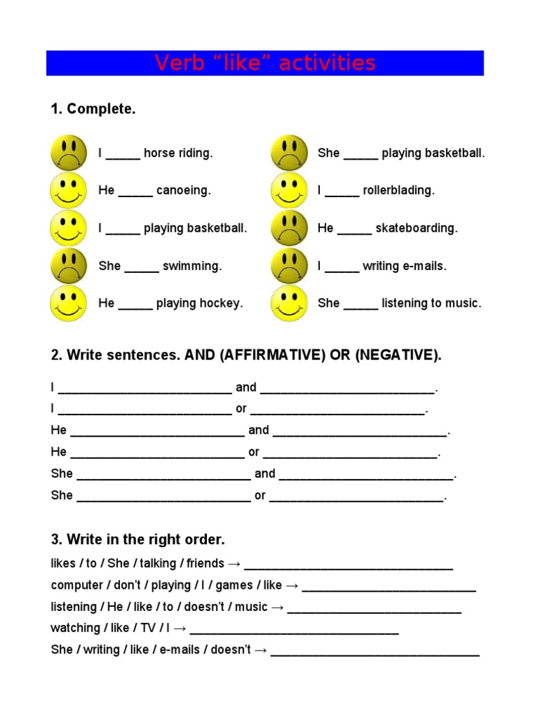 Verb Like Worksheet on 6 Simple Present Exercises