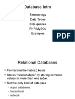 Terminology Data Types SQL Queries PHPMySQL Examples