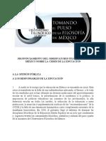 Pronunciamiento-Observatorio Filosófico de México (Julio 2018)
