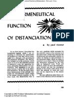 Ricoeur - The Hermeneutical Function of Distanciation