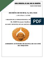 Decreto Municipal Nº 002-2018 Creacion de La Unidad Municipal de Redes Sociales
