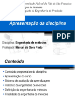1 - Aula - Apresentao da disciplina - Engenharia de Mtodos.ppt