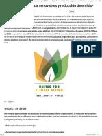 Eficiencia Energética, Renovables y Reducción de Emisiones Para 2020