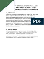 Primer Informe de Servicio Como Tecnico de Campo en Cultivo y Manejo de Pastos Para La Agencia Zonal de Tarata