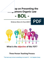 Workshop on Presenting the BOL