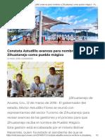 12-03-2018 Constata Astudillo Avances Para Nombrar a Zihuatanejo Como Pueblo Mágico.