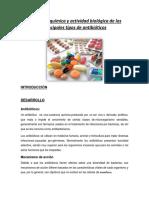 Estructura Química y Actividad Biológica de Los Principales Tipos de Antibióticos