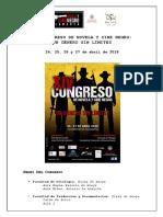 Programa del Congreso Novela y Cine Negro. Universidad de Salamanca (2018)