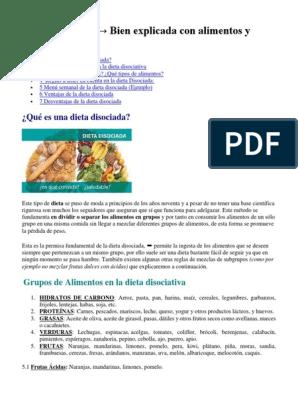 Dieta disociada por grupos de alimentos para diabeticos