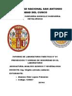 Prevencion y Normas de Laboratorio de Analisis Quimico