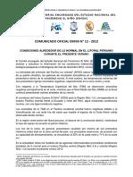 COMUNICADO OFICIAL ENFEN N° 12 - 2012