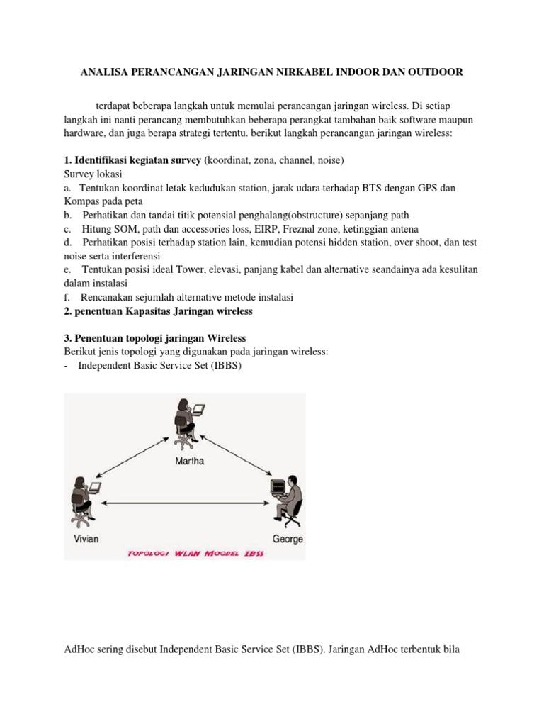 Analisa Perancangan Jaringan Nirkabel Indoor Dan Outdoor