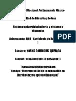 """Actividad Integradora Ensayo_ """"Interpretación de La Educación en Durkheim y Su Aplicación Actual"""""""