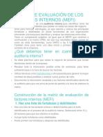 Matriz de Evaluación de Los Factores Internos