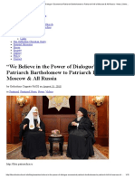 """""""We Believe in the Power of Dialogue"""" Ecumenical Patriarch Bartholomew to Patriarch Kirill of Moscow & All Russia - News _ Orthodoxy Cognate PAGE"""