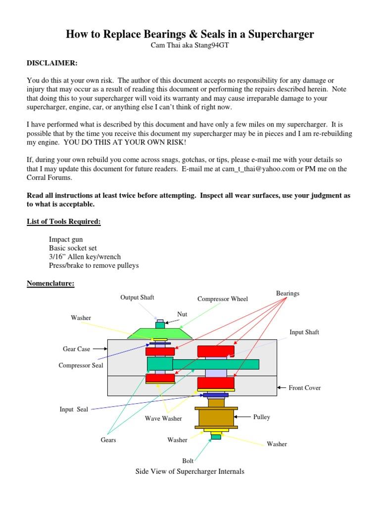 Supercharger Rebuild | Bearing (Mechanical) | Nut (Hardware)