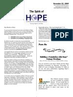 Nov 22 2009 Spirit of Hope Newsletter, Hope Evangelical Lutheran Church