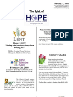 Feb 21 2010 Spirit of Hope Newsletter, Hope Evangelical Lutheran Church