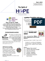May 2 2010 Spirit of Hope Newsletter, Hope Evangelical Lutheran Church