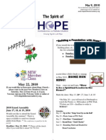 May 9 2010 Spirit of Hope Newsletter, Hope Evangelical Lutheran Church