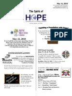 May 16 2010 Spirit of Hope Newsletter, Hope Evangelical Lutheran Church