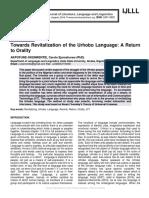 Towards Revitalization of the Urhobo Language