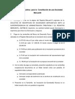 Proceso y Requisitos Para La Constitución de Una Sociedad Mercantil