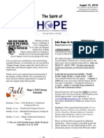 Aug 15 2010 Spirit of Hope Newsletter, Hope Evangelical Lutheran Church
