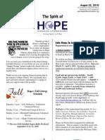 Aug 22 2010 Spirit of Hope Newsletter, Hope Evangelical Lutheran Church