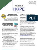 Aug 29 2010 Spirit of Hope Newsletter, Hope Evangelical Lutheran Church
