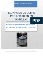 Lixiviacion de Cobre Por Agitacion en Botellas