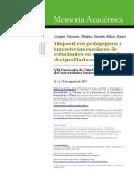 Dispositivos Pedagógicos y Trayectorias Escolares