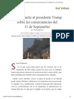 Carta Abierta Al Presidente Trump Sobre Las Consecuencias Del 11 de Septiembre, Por Thierry Meyssan