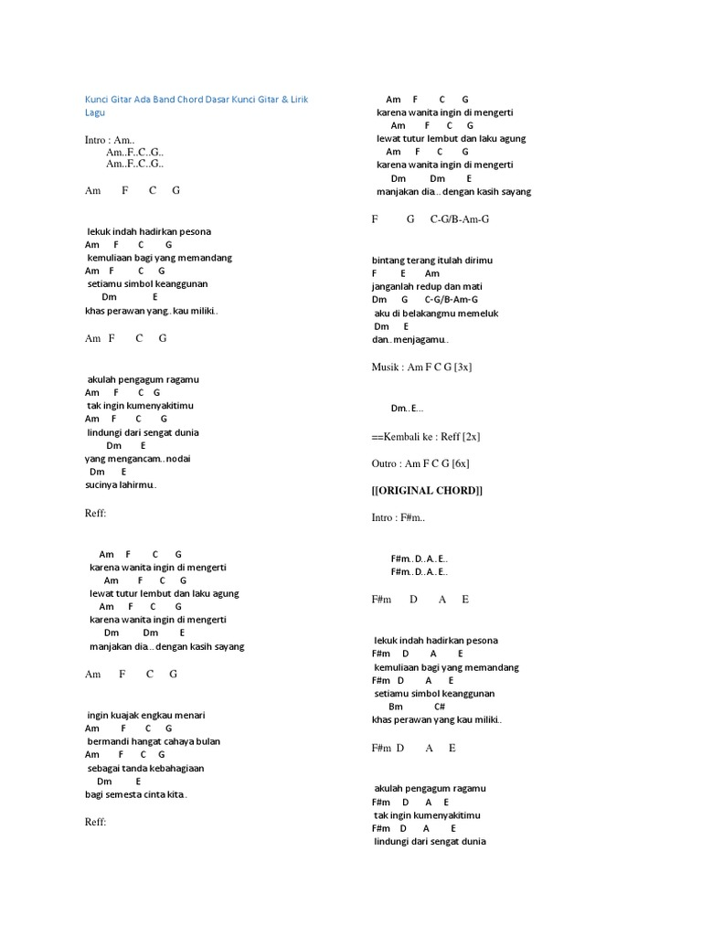 Chord Lagu Sayang 9 Chordtela Blog Pendidikan