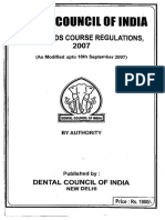 Bds 2007 Course Regulation by DCI