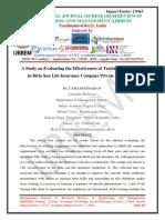 A Study on Evaluating the Effectiveness of Training Programme in Birla Sun Life Insurance Company Private Ltd, Kerala