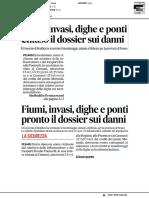 Fiumi, invasi, dighe e ponti. Chiuso il dossier sui danni - Il Corriere Adriatico del 31 agosto 2018